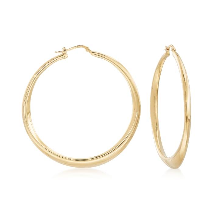 Italian 18kt Gold Over Sterling Tapered Hoop Earrings