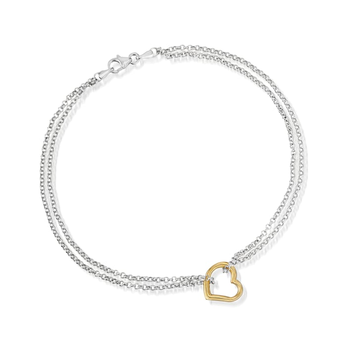 Sterling Silver and 14kt Yellow Gold Heart Center Anklet