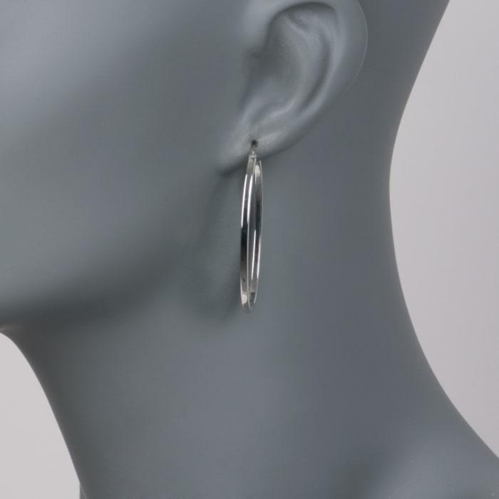 Roberto Coin 18kt White Gold Oval Hoop Earrings
