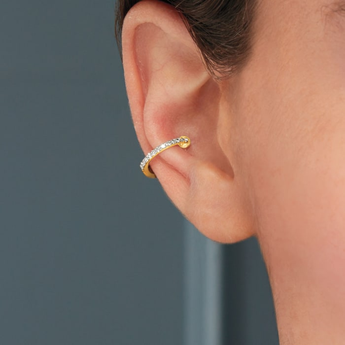 Diamond-Accented Single Ear Cuff in 14kt Yellow Gold