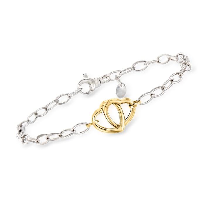 Italian 14kt Yellow Gold and Sterling Silver Interlocking Heart Bracelet