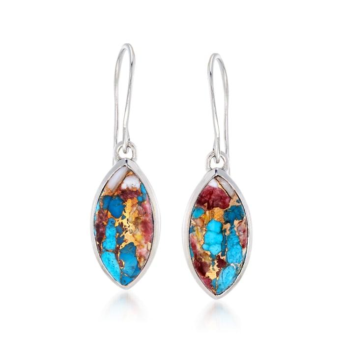 Marquise Kingman Turquoise Drop Earrings in Sterling Silver
