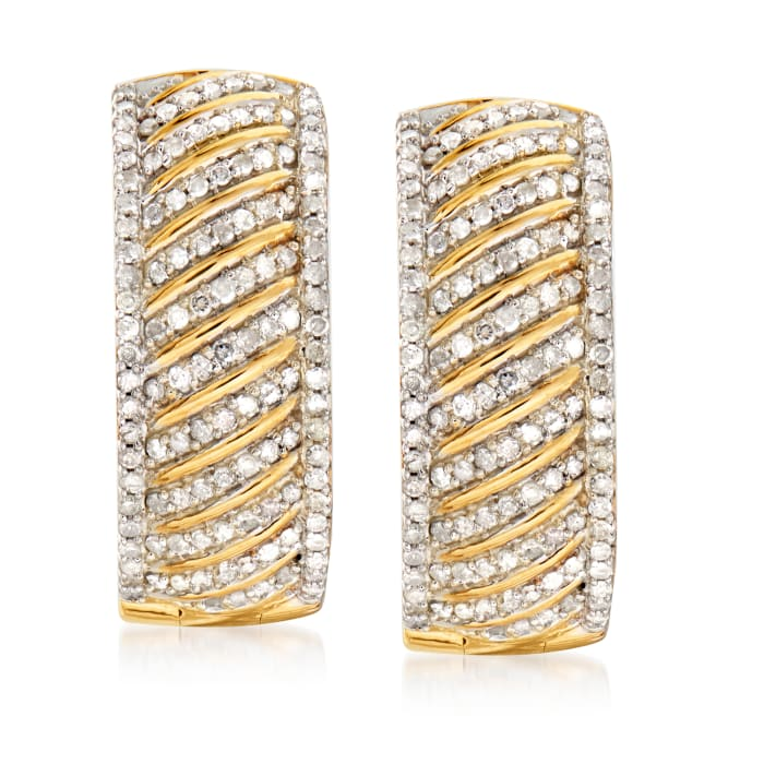 1.00 ct. t.w. Diamond Diagonal Hoop Earrings in 18kt Gold Over Sterling