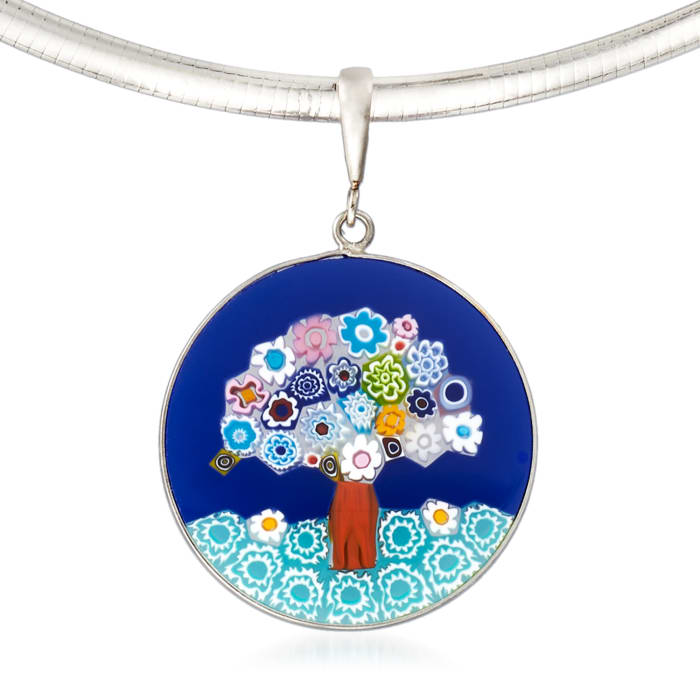 Murano Glass Tree of Life Pendant Necklace in Sterling Silver