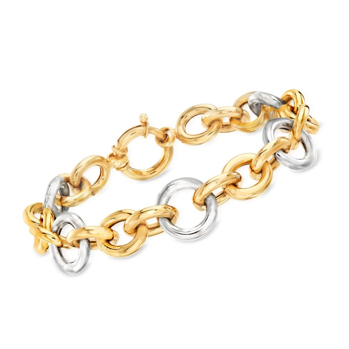 Two-Tone Sterling Silver Cable-Link Bracelet
