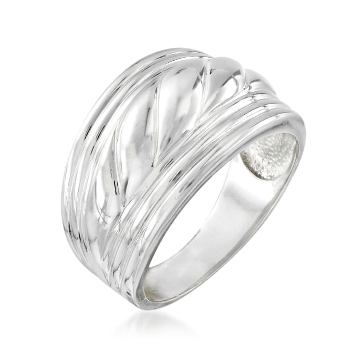 Sterling Silver Wide Roped Ring