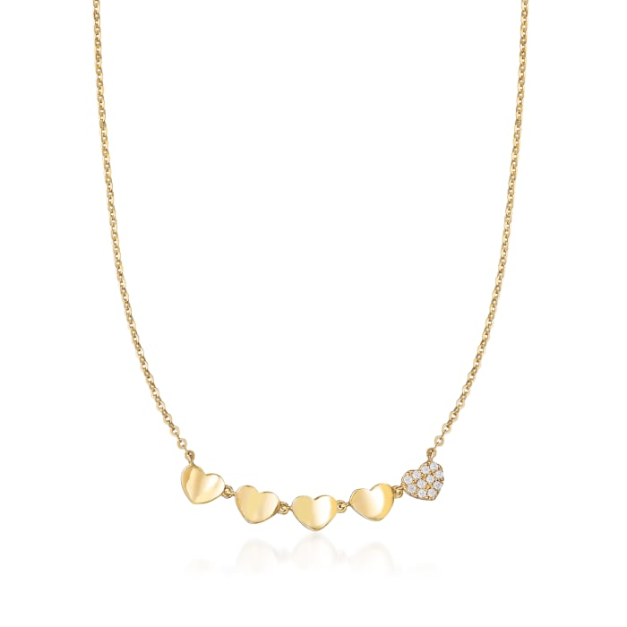 Baby's 14kt Yellow Gold Heart Necklace with CZ Accents