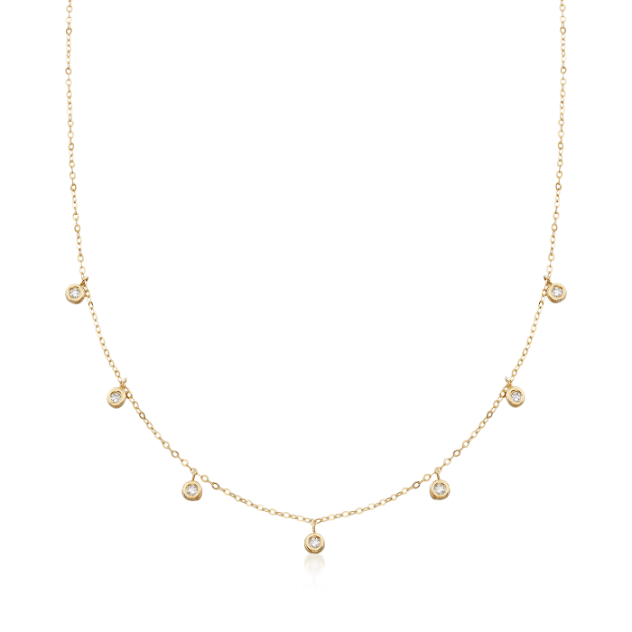 Italian .20 ct. t.w. Bezel-Set CZ Station Drop Necklace in 14kt Yellow Gold