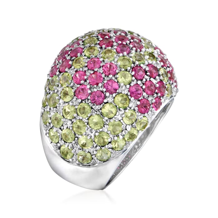 C. 1990 Vintage 3.20 ct. t.w. Pink Sapphire and 3.00 ct. t.w. Peridot Flower Dome Ring in 18kt White Gold