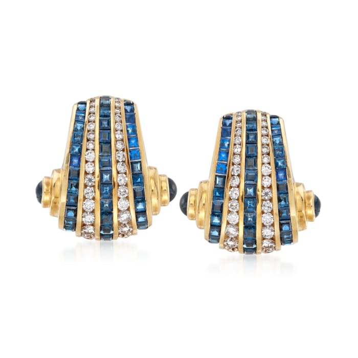 C. 1990 Vintage Charles Krypell 9.60 ct. t.w. Sapphire and 2.00 ct. t.w. Diamond Clip-On Earrings in 18kt Yellow Gold