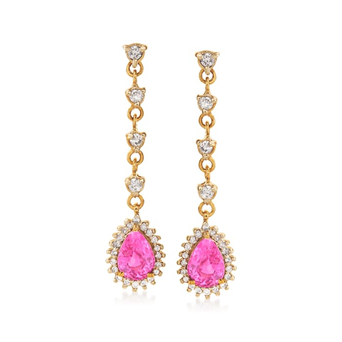 1.70 ct. t.w. Pink Sapphire and .48 ct. t.w. Diamond Drop Earrings in 14kt Yellow Gold