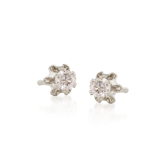 Child's Diamond Accent Stud Earrings in 14kt White Gold