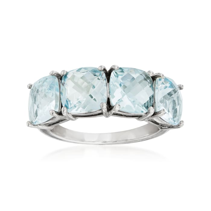 5.20 ct. t.w. Aquamarine Four-Stone Ring in Sterling Silver