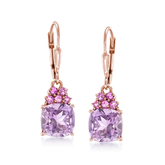 3.60 ct. t.w. Amethyst and .40 ct. t.w. Rhodolite Garnet Drop Earrings in 18kt Rose Gold Over Sterling
