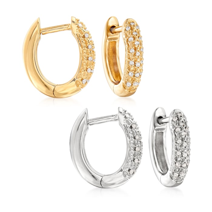 .10 ct. t.w. Diamond Jewelry Set: Two Pairs of Huggie Hoop Earrings in Sterling Silver and 18kt Gold Over Sterling