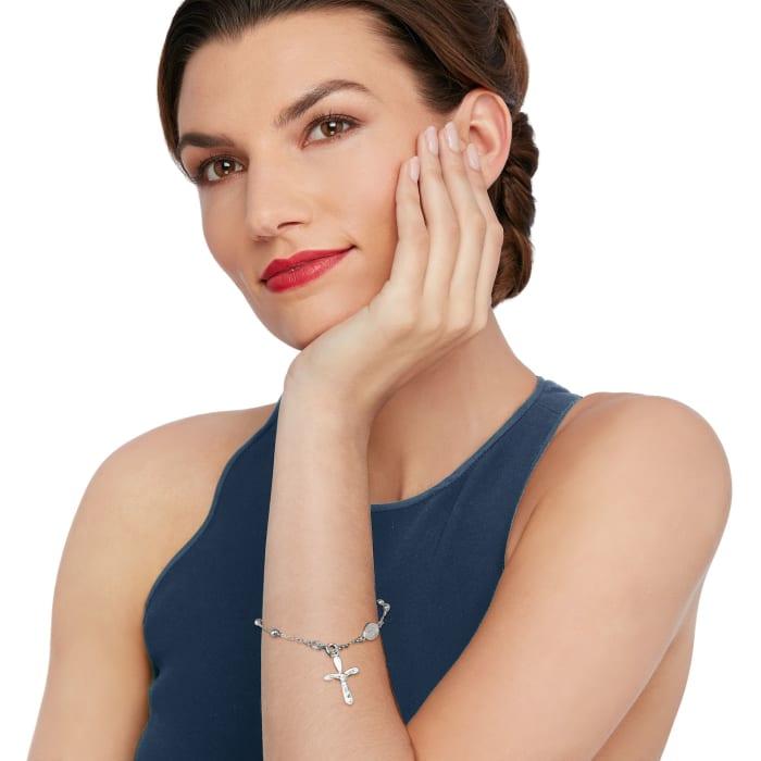 Sterling Silver Rosary Style Bracelet