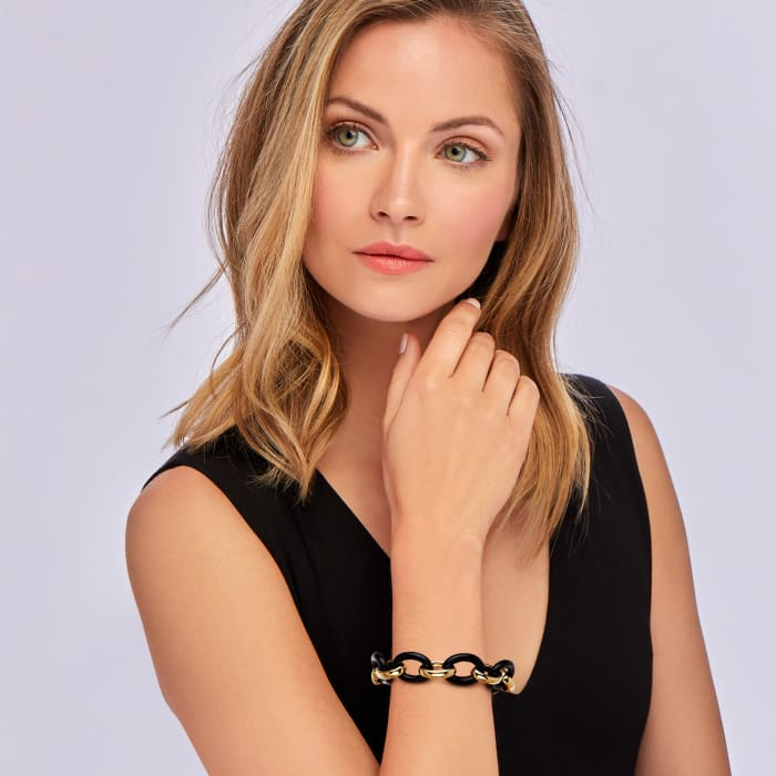 Andiamo 14kt Yellow Gold Over Resin and Black Onyx Link Bracelet with Diamond Accent on Magnetic Clasp