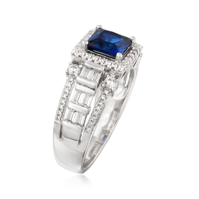 1.00 Carat Simulated Sapphire and .75 ct. t.w. CZ Ring in Sterling Silver