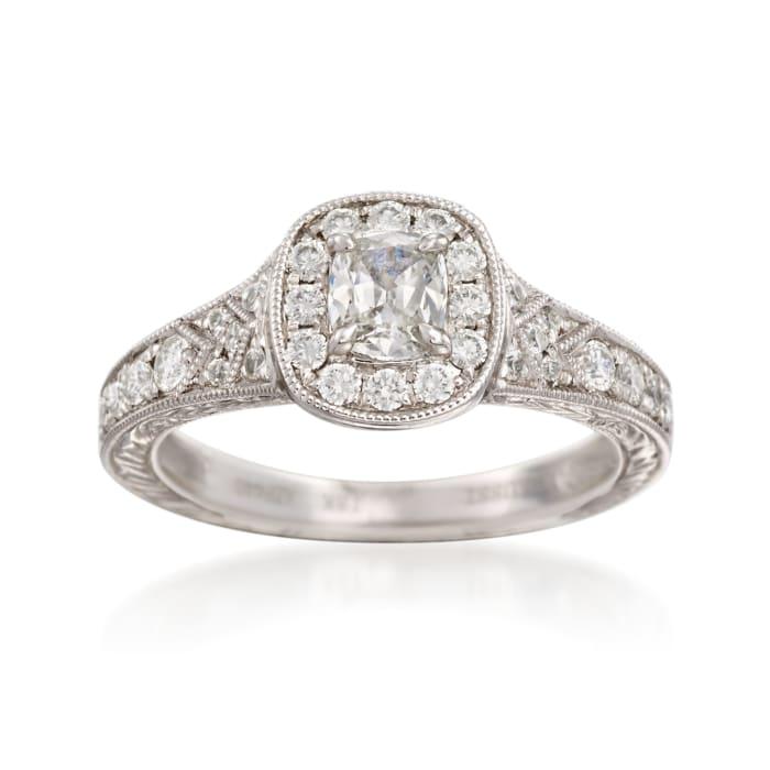 Henri Daussi .90 ct. t.w. Diamond Engagement Ring in 18kt White Gold