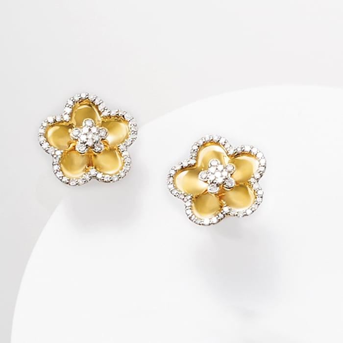 .44 ct. t.w. Diamond Flower Earrings in 14kt Yellow Gold