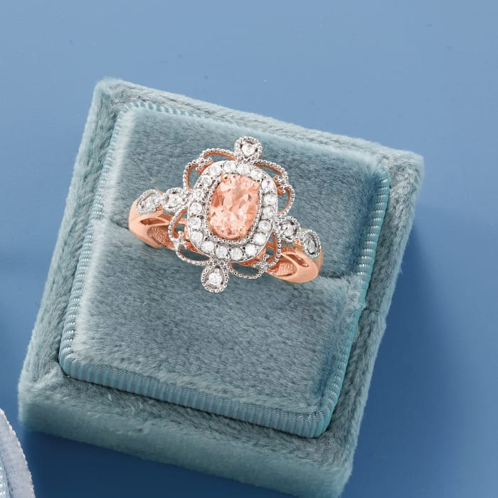 .75 Carat Morganite and .44 ct. t.w. White Zircon Ring in 18kt Rose Gold Over Sterling