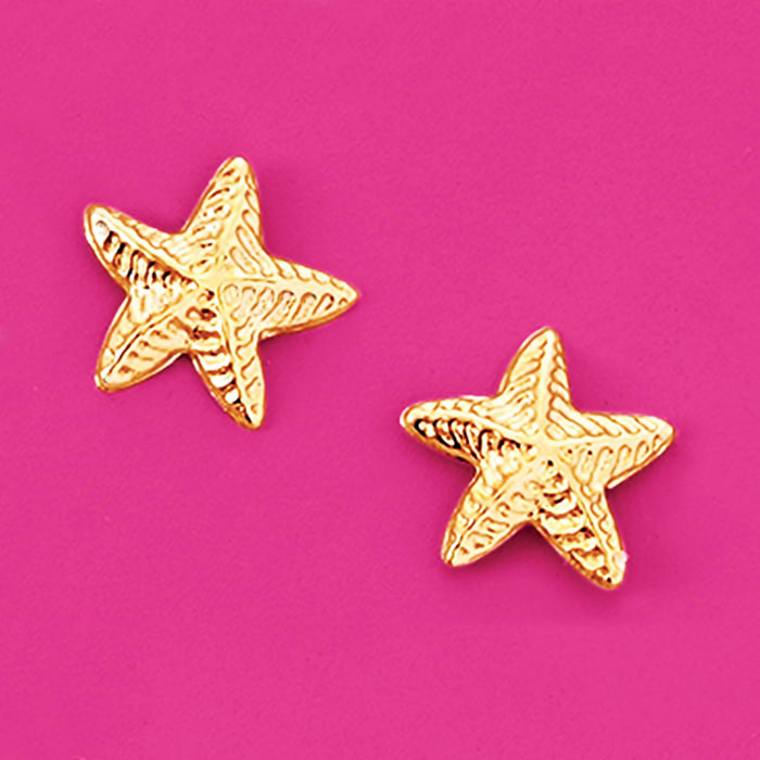 Child's 14kt Yellow Gold Starfish Stud Earrings