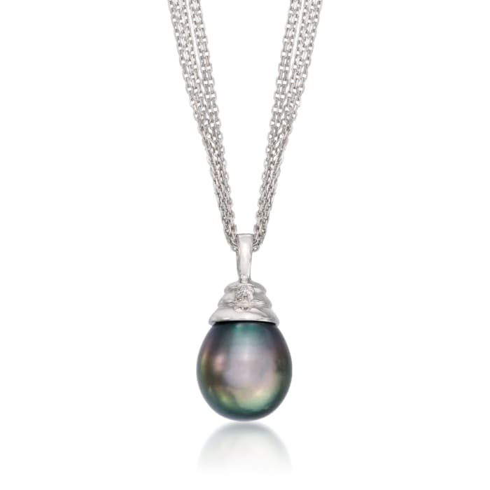 11-12mm Black Cultured Tahitian Pearl Necklace with Diamond Accent in Sterling Silver