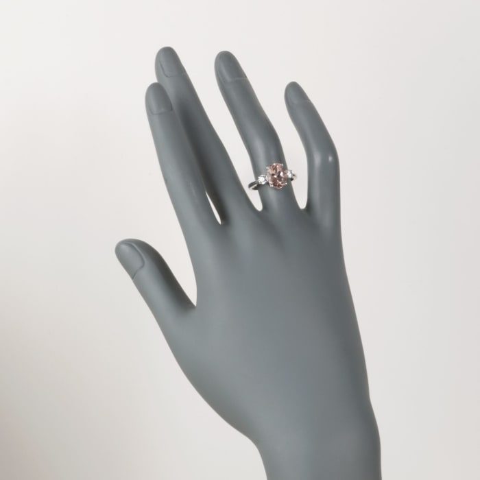 2.20 Carat Morganite and .33 ct. t.w. Diamond Ring in 14kt White Gold