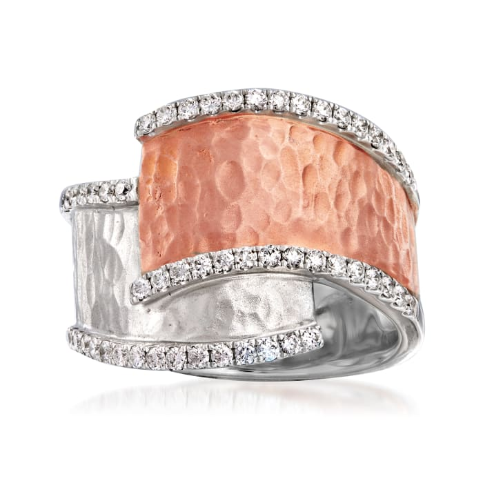 C. 2000 Vintage .75 ct. t.w. Diamond Bypass Ring in 18kt Two-Tone Gold