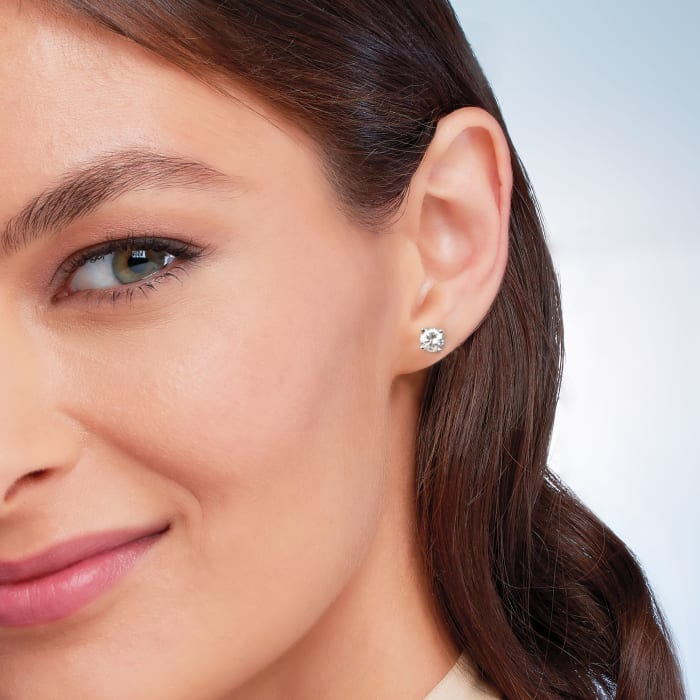 1.00 ct. t.w. CZ Stud Earrings in 14kt White Gold