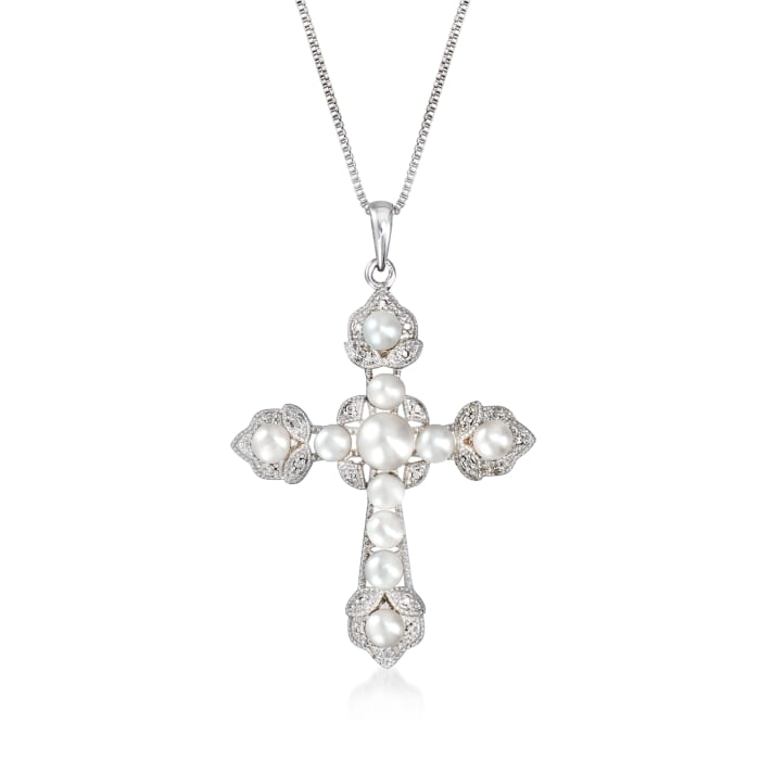 3-6mm Cultured Pearl Cross Pendant Necklace in Sterling Silver