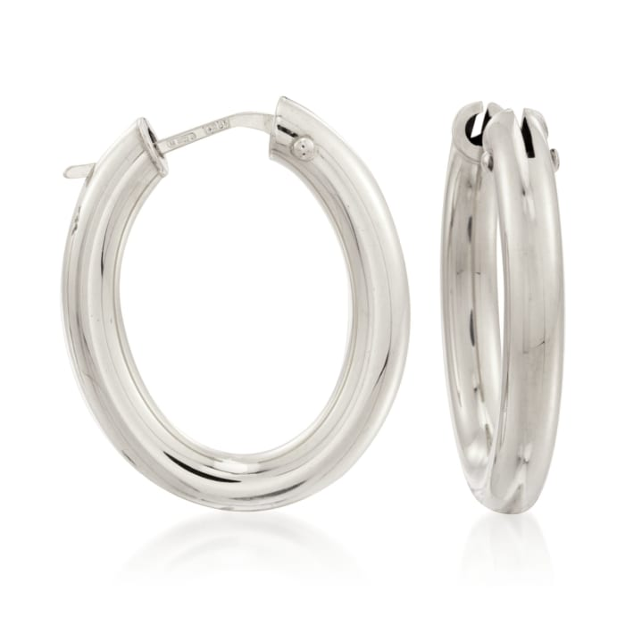 Roberto Coin 18kt White Gold Hoop Earrings