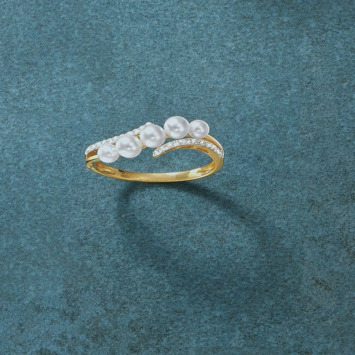 3-4mm Cultured Pearl and .10 ct. t.w. Diamond Wave Ring in 14kt Yellow Gold