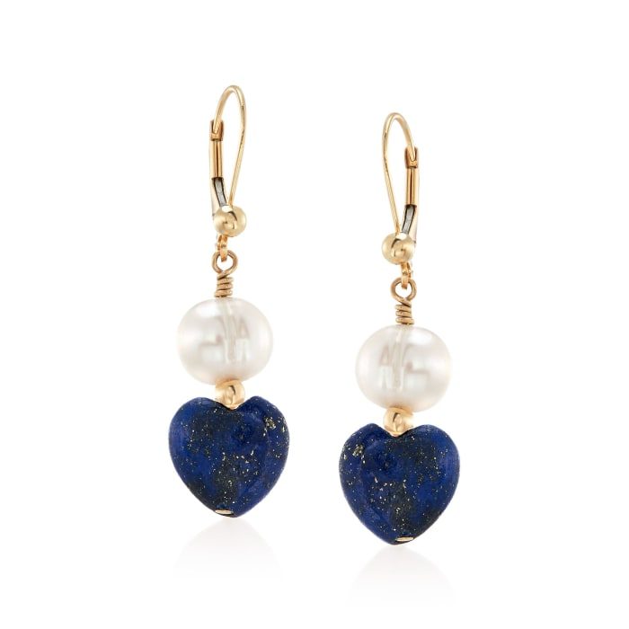 8-8.5mm Cultured Semi-Baroque Pearl and Lapis Heart Bead Drop Earrings in 14kt Gold