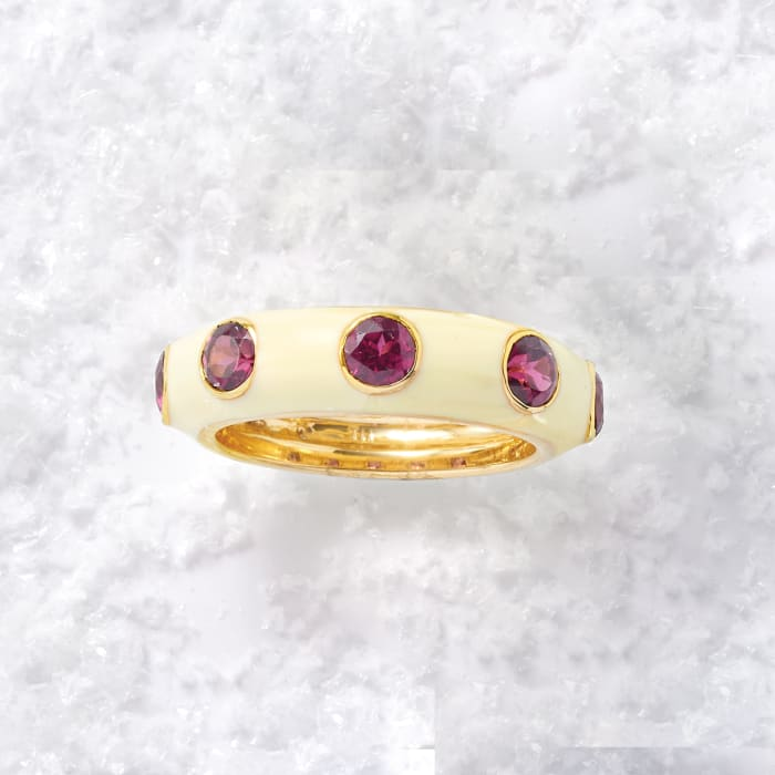 1.50 ct. t.w. Rhodolite Garnet and White Enamel Ring in 18kt Gold Over Sterling