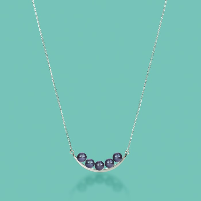 5.5-6mm Black Cultured Pearl Curved Bar Necklace in Sterling Silver