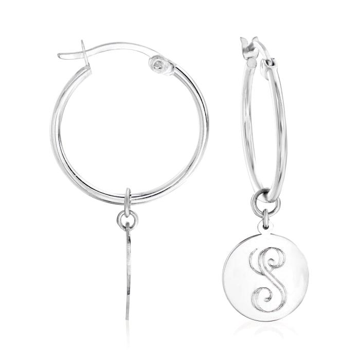 Sterling Silver Single-Initial Circle Charm Hoop Earrings