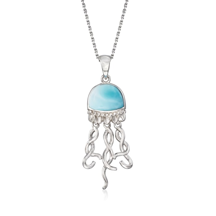 Larimar Jellyfish Pendant Necklace in Sterling Silver