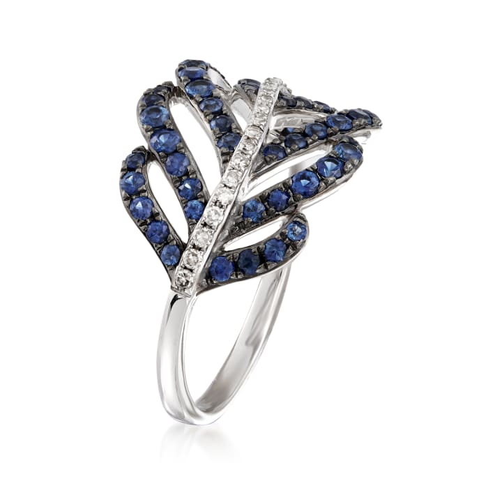 .90 ct. t.w. Sapphire and .10 ct. t.w. Diamond Leaf Ring in 14kt White Gold