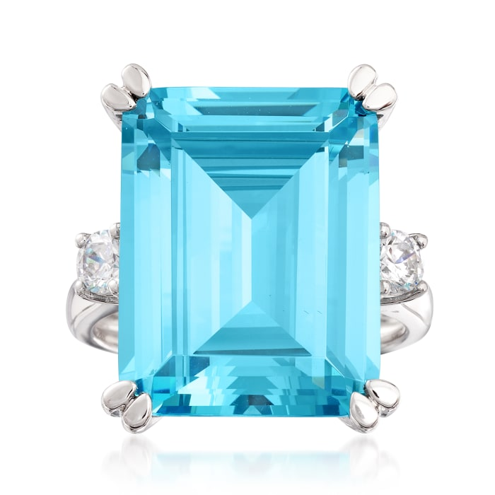 17.00 Carat Simulated Aquamarine and .30 ct. t.w. CZ Ring in Sterling Silver