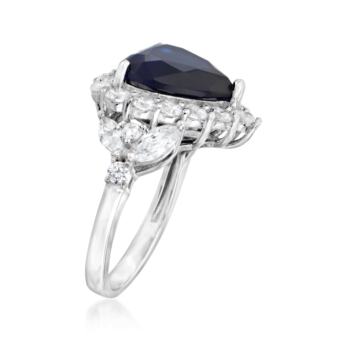 7.25 Carat Simulated Sapphire and 2.11 ct. t.w. CZ Heart Ring in Sterling Silver
