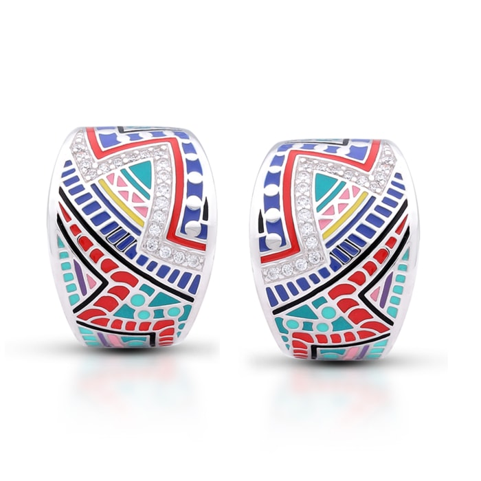 """Belle Etoile """"Carnival"""" Multicolored Enamel and .80 ct. t.w. CZ Omega Earrings in Sterling Silver"""
