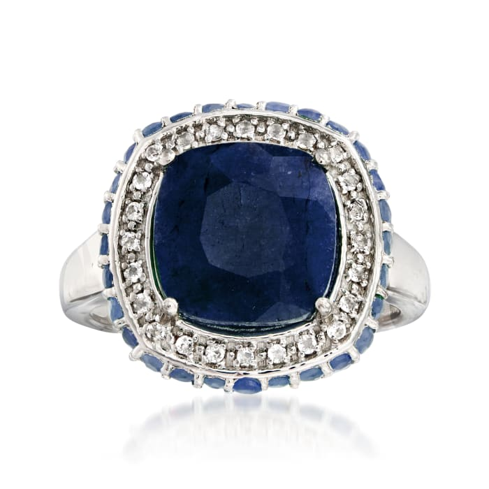 5.70 ct. t.w. Sapphire and .10 ct. t.w. White Topaz Ring in Sterling Silver