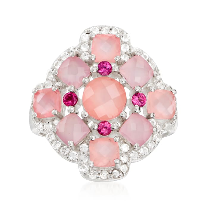 Pink Chalcedony, .50 ct. t.w. White Topaz and .20 ct. t.w. Rhodolite Garnet Ring in Sterling Silver