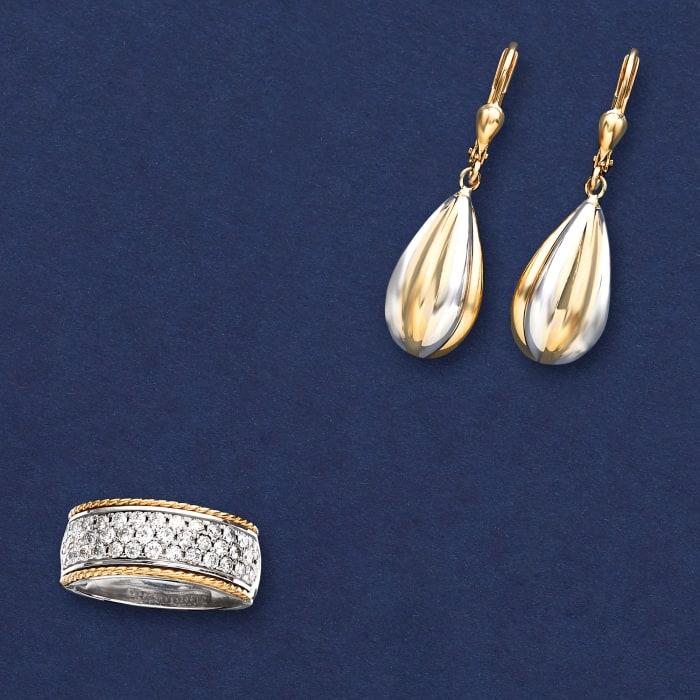 14kt Two-Tone Gold Teardrop Earrings