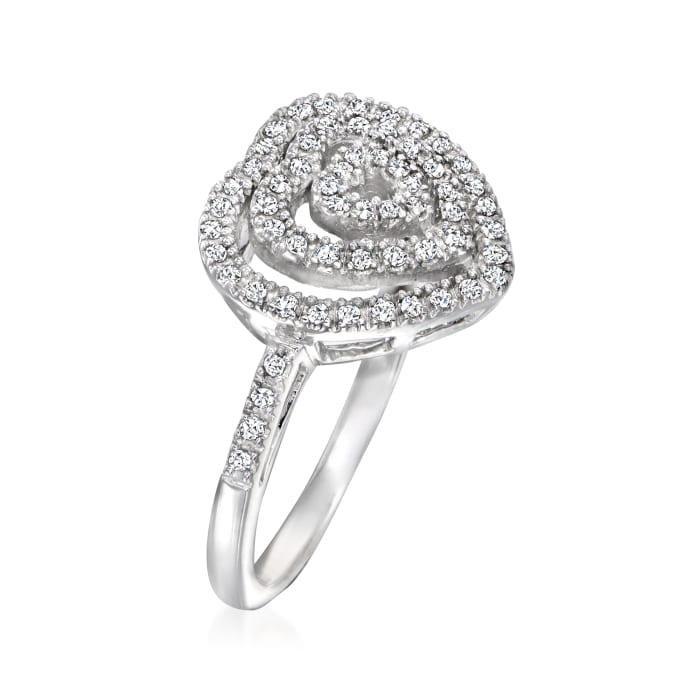 C. 1970 Vintage .25 ct. t.w. Diamond Heart Ring in 14kt White Gold