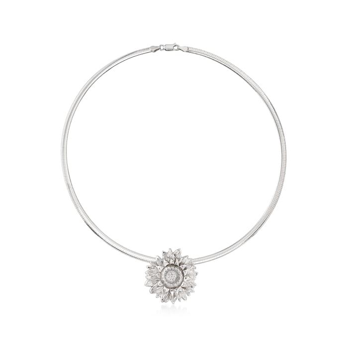 Italian Sterling Silver Sunflower Slide Pendant Necklace