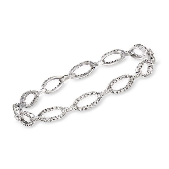 C. 1980 Vintage 1.15 ct. t.w. Diamond Oval-Link Bracelet in 14kt White Gold