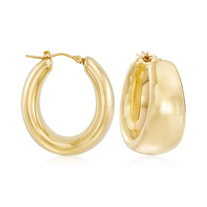 Andiamo 14kt Yellow Gold Over Resin Puffed Oval Hoop Earrings