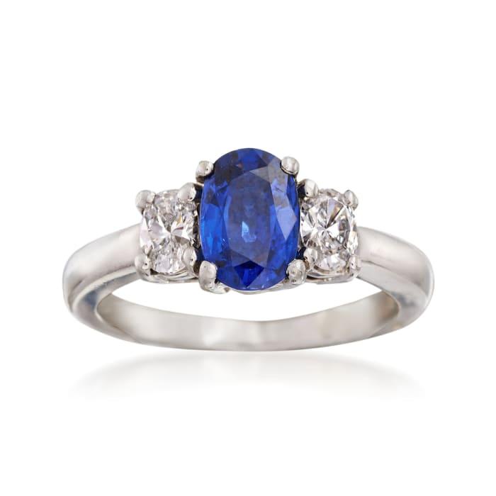 C. 2000 Vintage 1.25 Carat Sapphire and .40 ct. t.w. Diamond Ring in Platinum